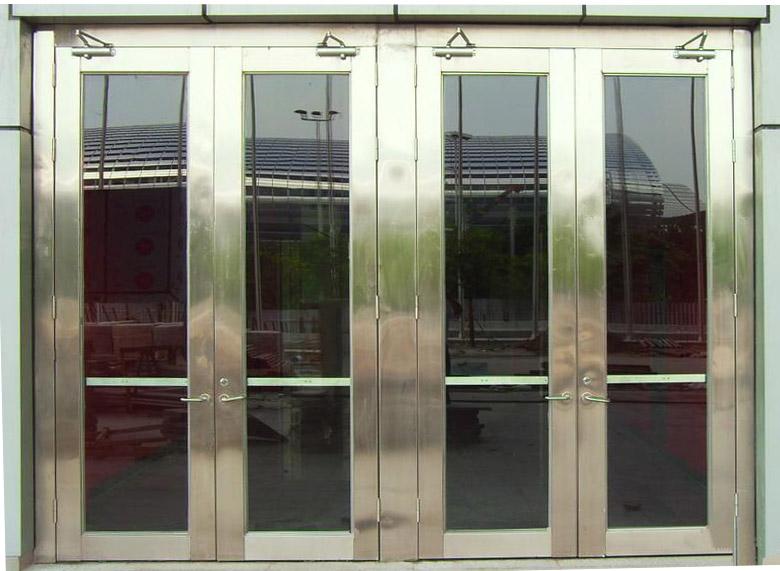 304不锈钢材质双开玻璃防火门